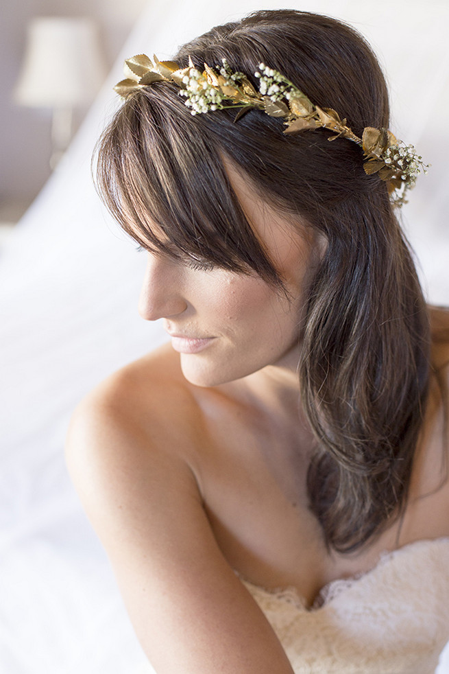 Gold flower crown // Organic Farm Style Karoo Wedding // christine Le Roux Photography