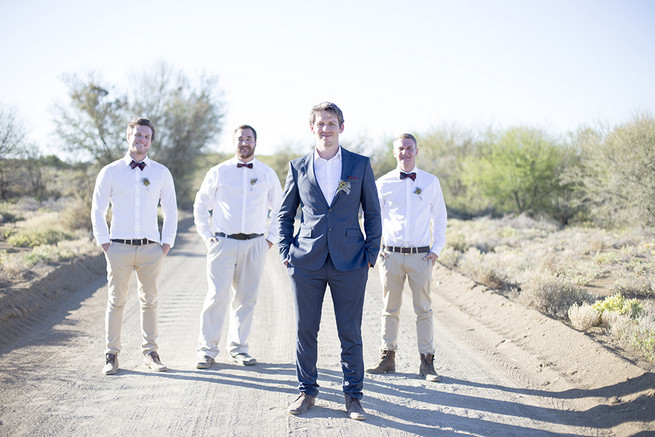 Groomsmen with bowties // Organic Farm Style Karoo Wedding // christine Le Roux Photography