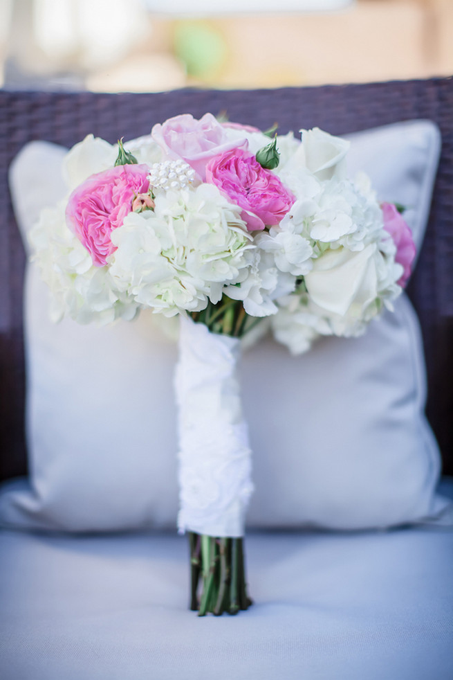 Pink and blush roses, white roses and white hydrangea bouquet // Modern Romance: Pink and Silver Wedding // Jessica Q Photography
