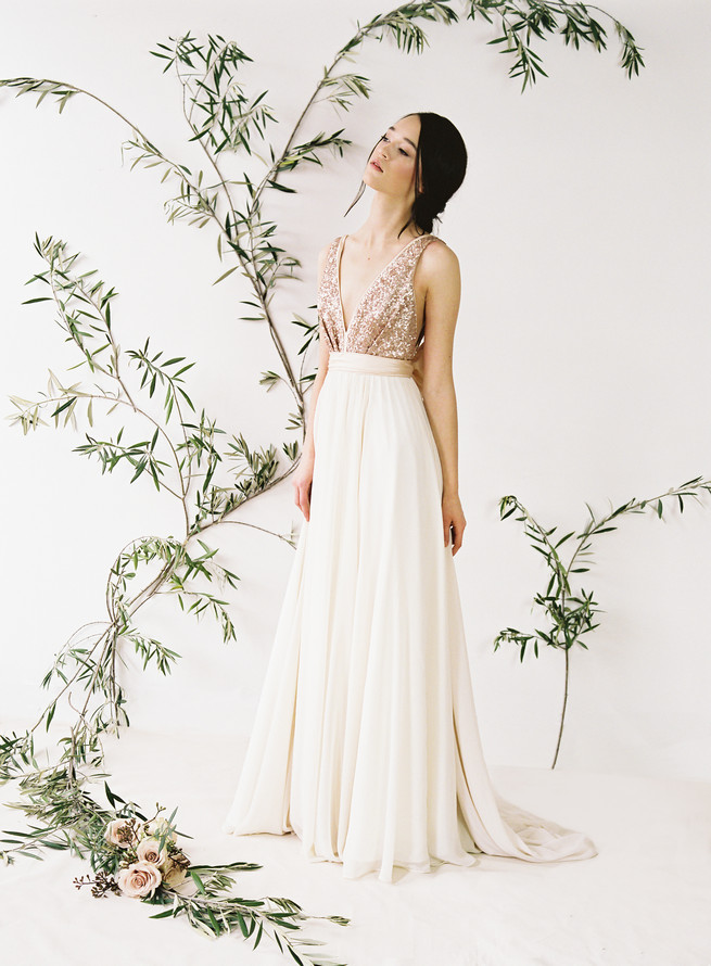 Rose gold glittering Eden sequin wedding dress with v neck front and tulle skirt. Truvelle Wedding Dress by Blush Wedding Photography