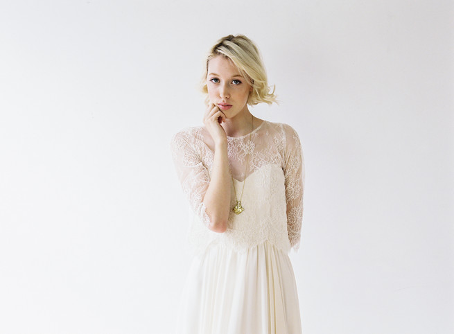Klara bridal gown with lace sleeves. Truvelle Wedding Dress by Blush Wedding Photography