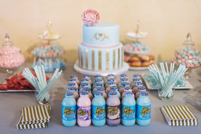 Gold, blue, pink wedding cake dessert table with steri stumpie milkshakes. White and Gold DIY Chevron Wedding, South Africa, by Claire Thomson Photography