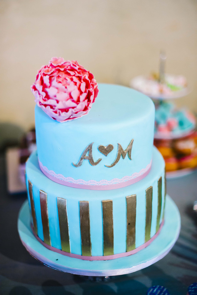 Gold blue and pink cute wedding cake. White and Gold DIY Chevron Wedding, South Africa, by Claire Thomson Photography