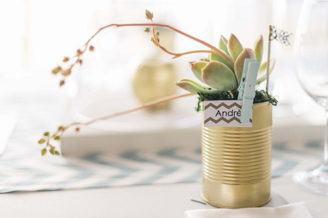 Gold painted tin with succulents as favor. White and Gold DIY Chevron Wedding, South Africa, by Claire Thomson Photography