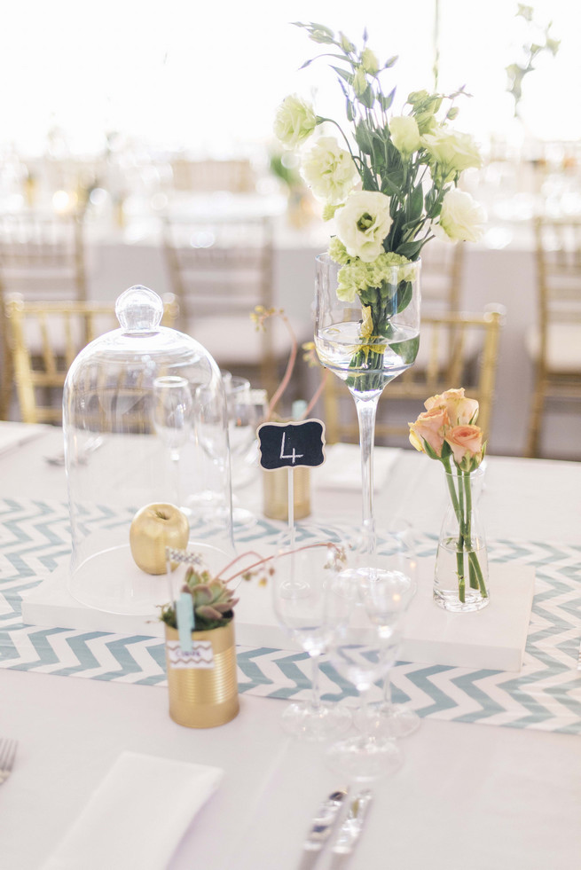 Wedding Reception Table Decor DIY by the bride! White and Gold DIY Chevron Wedding, South Africa, by Claire Thomson Photography