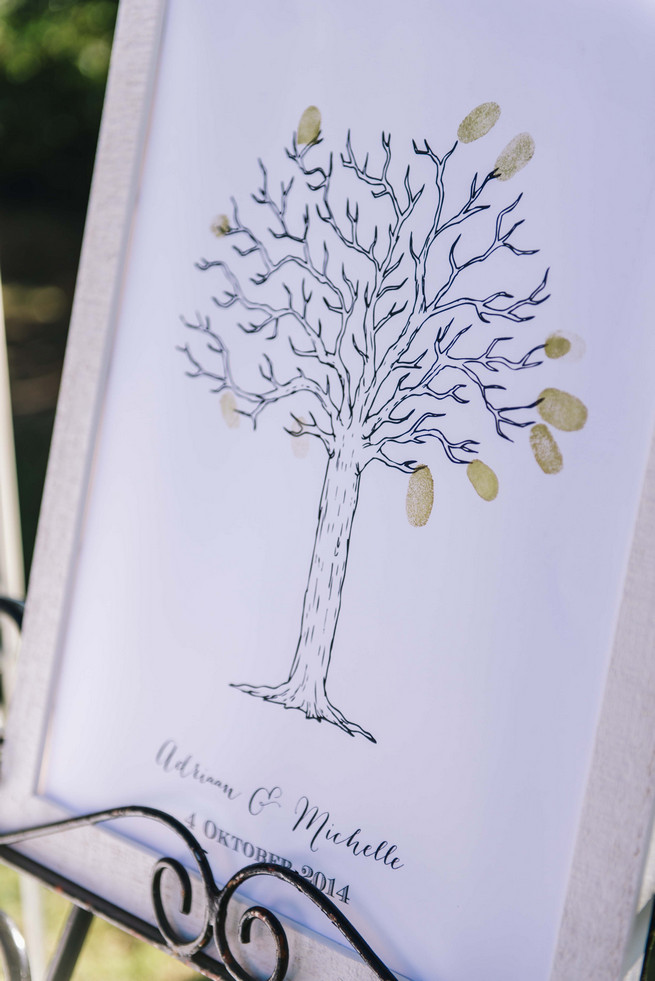 Thumb print guest book poster. ite and Gold DIY Chevron Wedding, South Africa, by Claire Thomson Photography