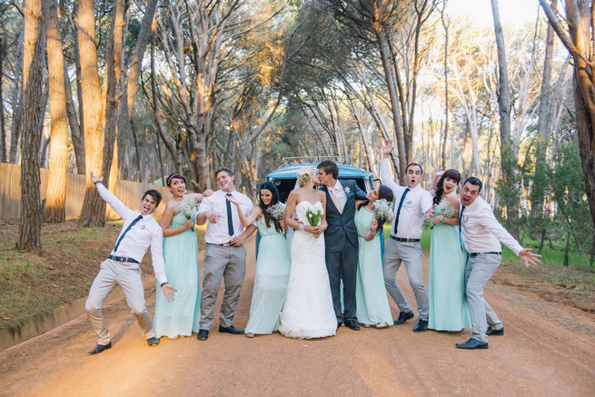 Cute bridal party pic with guys and gals. ite and Gold DIY Chevron Wedding, South Africa, by Claire Thomson Photography