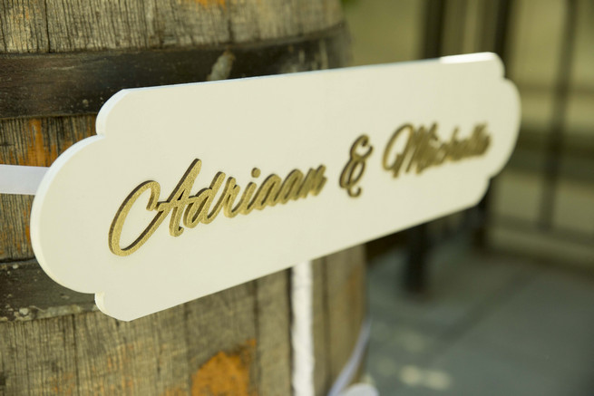 Gold wedding sign with couple names. White and Gold DIY Chevron Wedding, South Africa, by Claire Thomson Photography