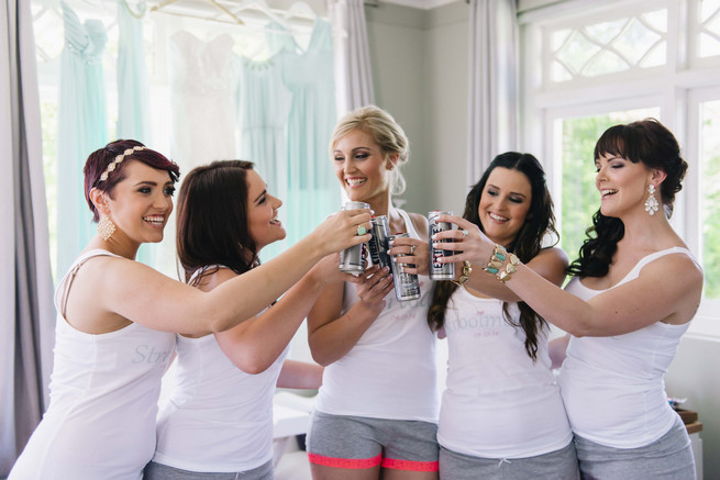 Bridesmaid getting ready photo - cheers!  White and Gold DIY Chevron Wedding, South Africa, by Claire Thomson Photography
