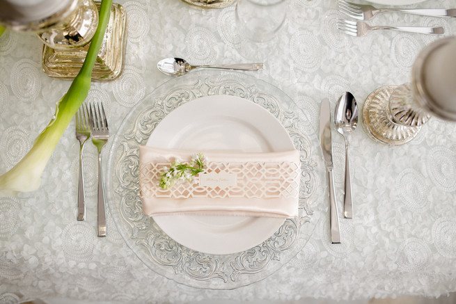 Elegant place setting. White on White Glamorous Wedding Ideas by ENV Photography. Styled by Elegant Touches and Atmosphere Weddings