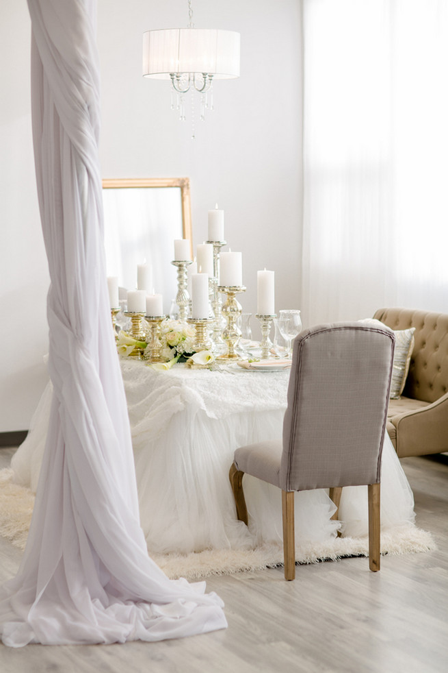 Super chic sweetheart table! White on White Glamorous Wedding Ideas by ENV Photography. Styled by Elegant Touches and Atmosphere Weddings