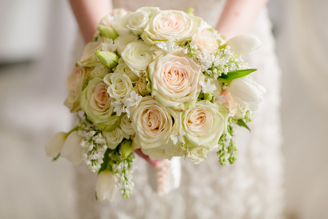 Cream rose winter wedding bouquet with touches of pale blush. White on White Glamorous Wedding Ideas by ENV Photography.