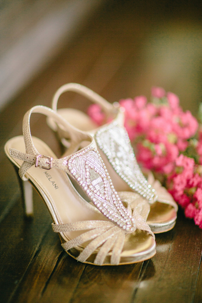 Sparkly neutral wedding shoes. Cute Coral Gray wedding at Briscoe Manor, Houston, by Luke and Cat Photography