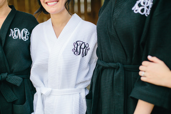 Monogrammed bridesmaid robes. Cute Coral Gray wedding at Briscoe Manor, Houston, by Luke and Cat Photography