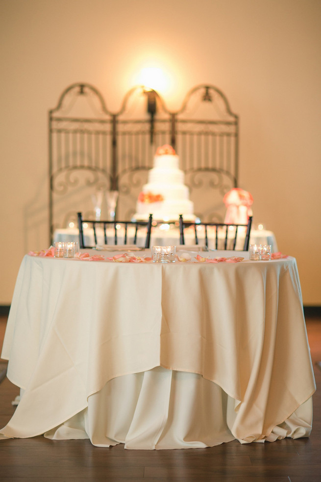 Sweetheart table. Cute Coral Gray wedding at Briscoe Manor, Houston, by Luke and Cat Photography
