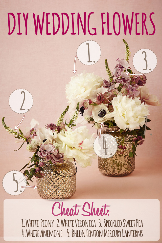 DIY Wedding Flower Centerpiece Recipe using White Peony, White Veronica, Speckled Sweet Pea, White Anemone and BHLDN Fenton Mercury Lanterns. Click for full recipe.