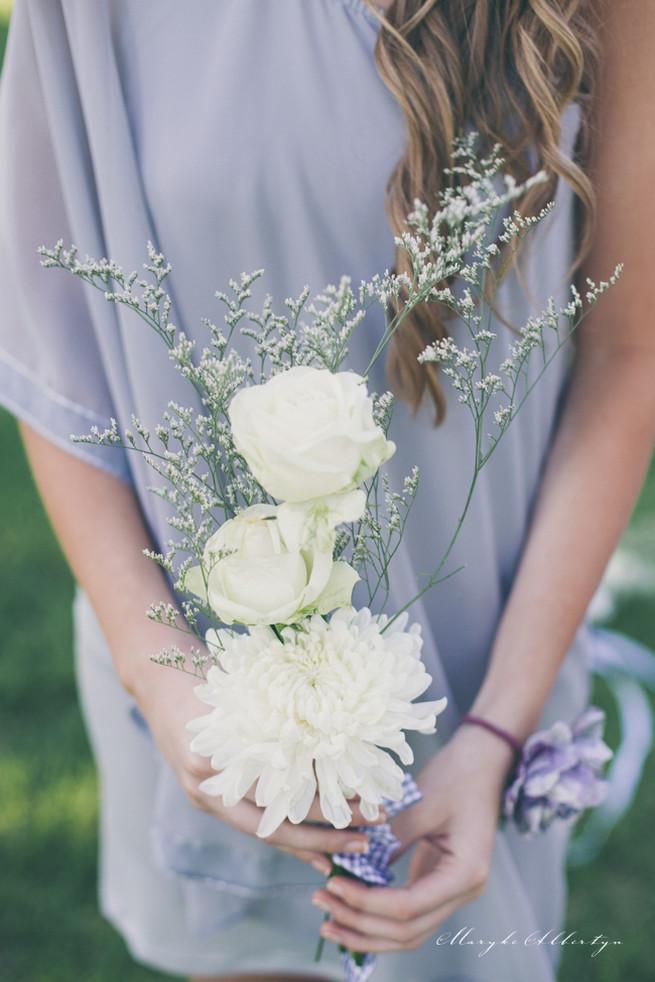 Roses and babys breath bridesmaid bouquet. Perfectly pretty! Grey White Farm Wedding, South Africa // Maryke Albertyn