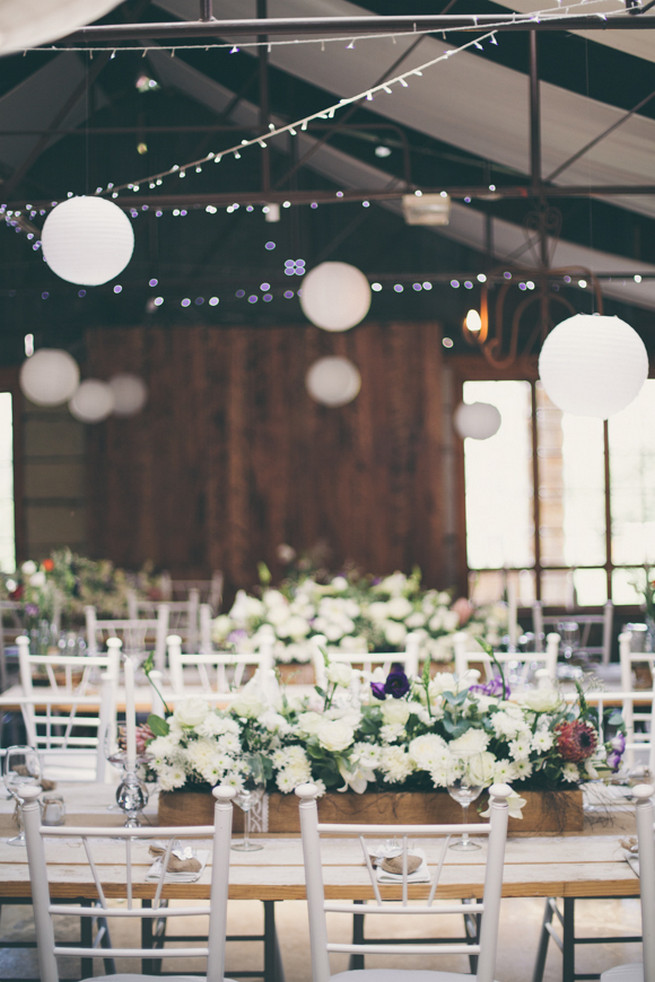 Barn wedding with fairy lights and paper lanterns. Grey White Farm Wedding, South Africa // Maryke Albertyn