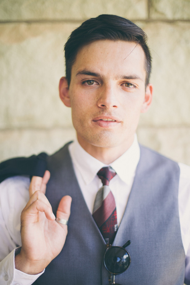 Stylish groom in grey. Grey White Farm Wedding, South Africa // Maryke Albertyn