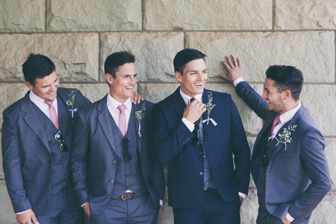 Handsome groomsmen in grey and navy. Grey White Farm Wedding, South Africa // Maryke Albertyn