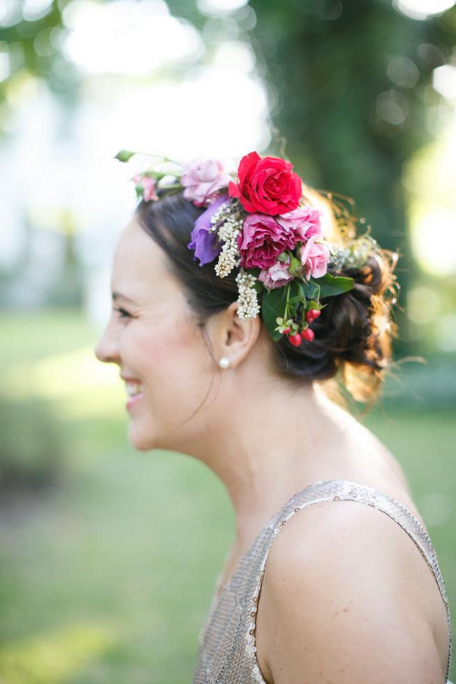 bridesmaid flower crown. Pink, purple and green Natte Valleij Stellenbosch Wedding by Adene Photography