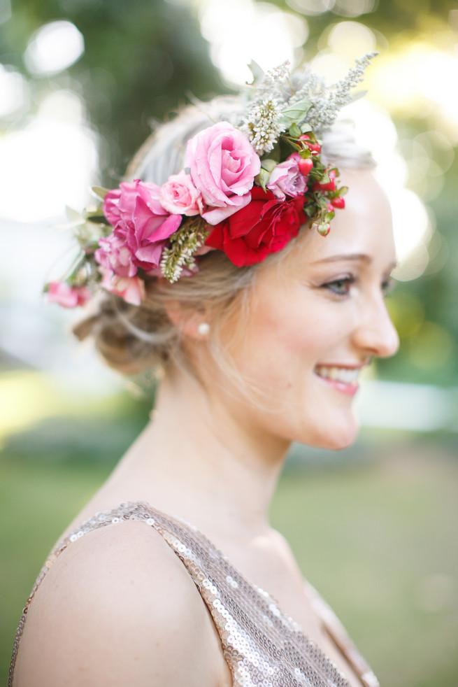 Bridesmaid flower crown Pink, purple and green Natte Valleij Stellenbosch Wedding by Adene Photography