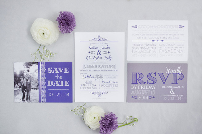 Beautiful purple, lavender and white wedding invitations and save the dates