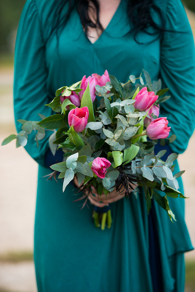 Green and pink bridesmaid bouquet. Woodlands Winter Wedding in deep blue, burgundy and emerald green // Knit Together Photography