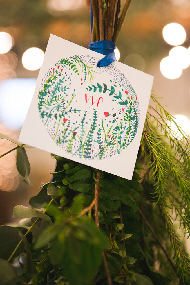 Hand illustrated wedding stationery and decor with leaf patterning. Woodlands Winter Wedding in deep blue, burgundy and emerald green // Knit Together Photography