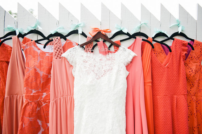 Coral bridesmaid dresses  / Meredith McKee Photography