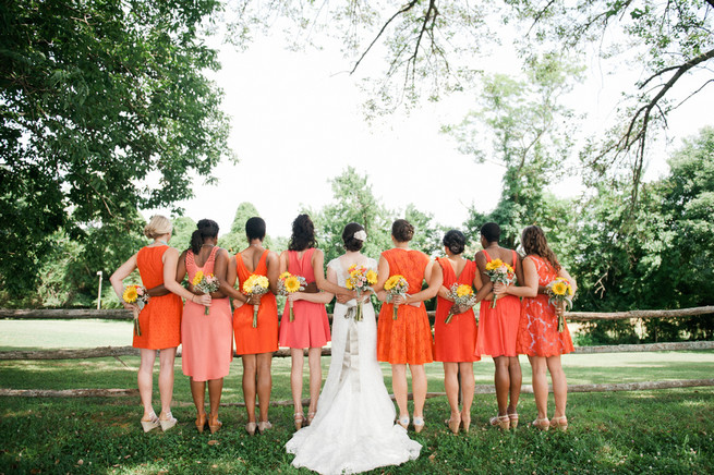 Bridesmaid dresses.  Coral Navy Mustard Wedding / Meredith McKee Photography