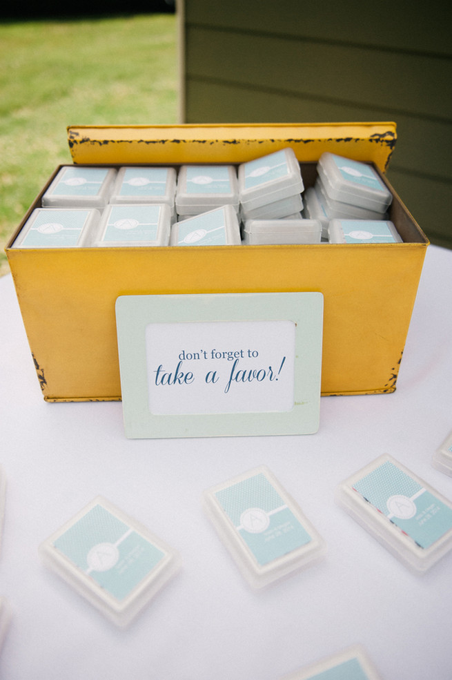Wedding favors Coral Navy Mustard Wedding / Meredith McKee Photography
