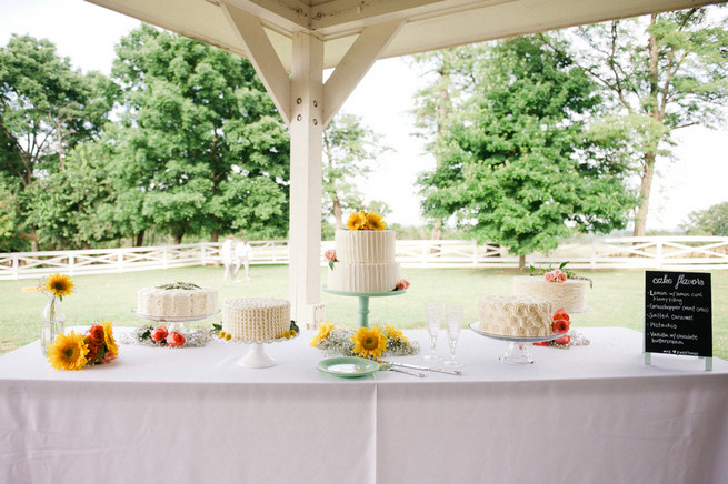 Cake table.  Coral Navy Mustard Wedding / Meredith McKee Photography