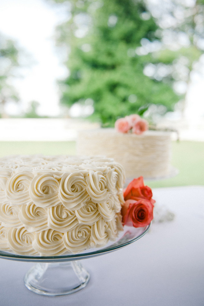 Ruffle wedding cake.  Coral Navy Mustard Wedding / Meredith McKee Photography