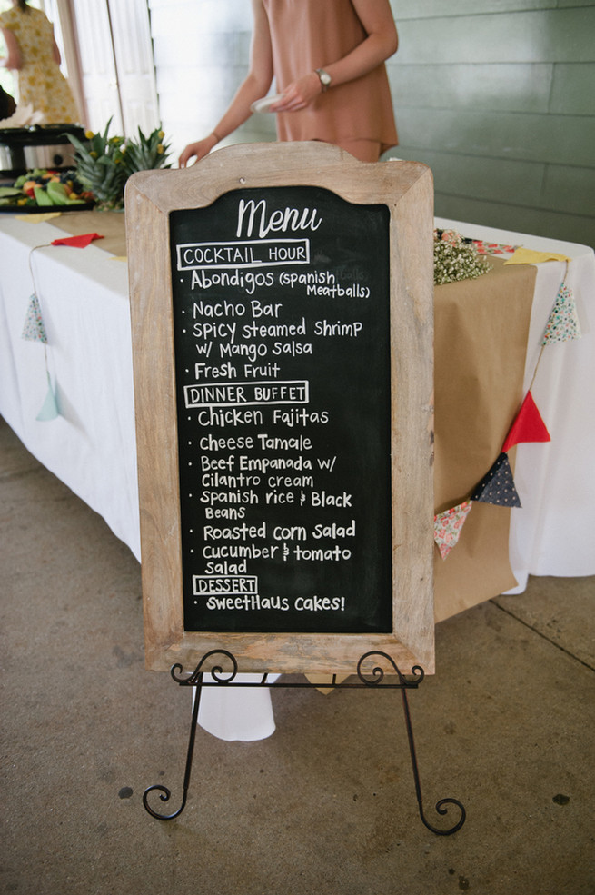 Chalkboard menu.  Coral Navy Mustard Wedding / Meredith McKee Photography