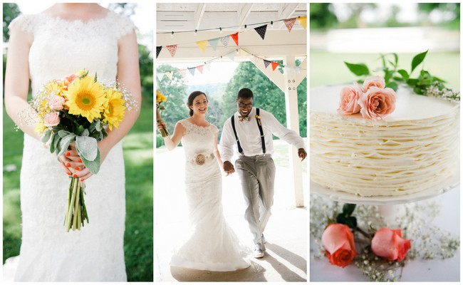 Coral Navy Yellow DIY Wedding