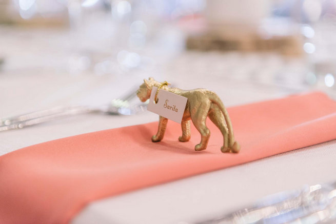 DIY gold painted animal escort cards / Claire Thomson Photography