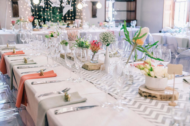 Chevron runner tablescape / - Claire Thomson Photography