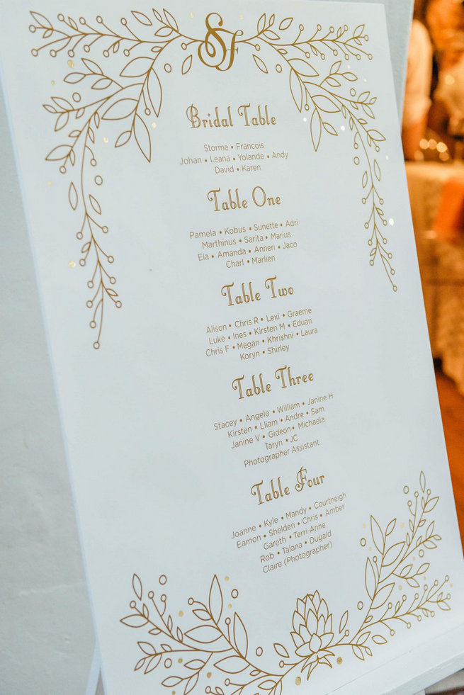 Gold and white seating chart // Langkloof Roses Wedding, Cape Town - Claire Thomson Photography
