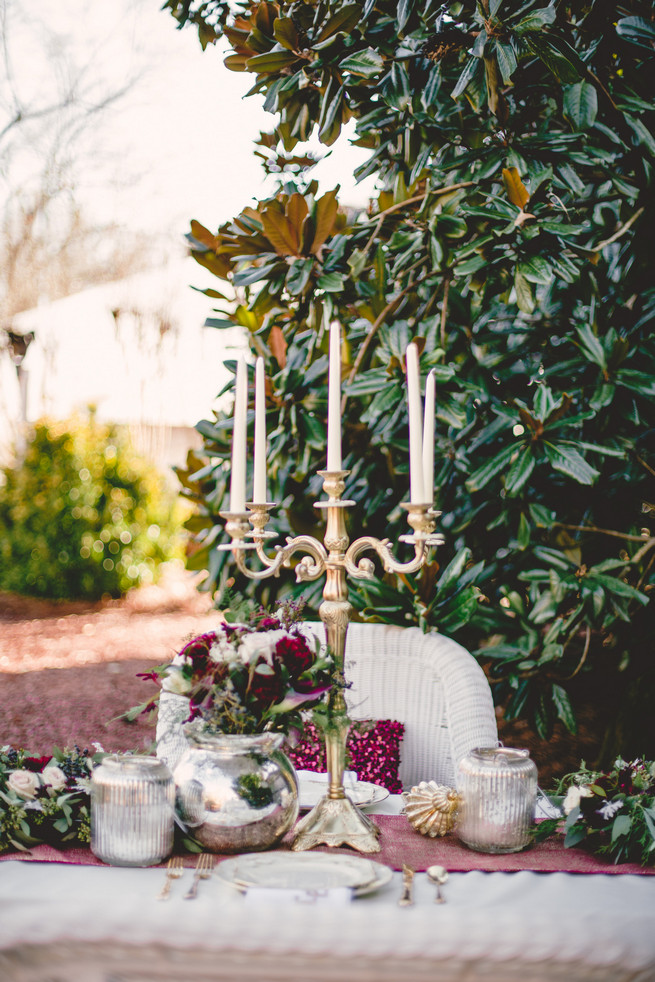 Gold and Marsala outdoor table - Marsala Wedding Tablescape - RedboatPhotography.net