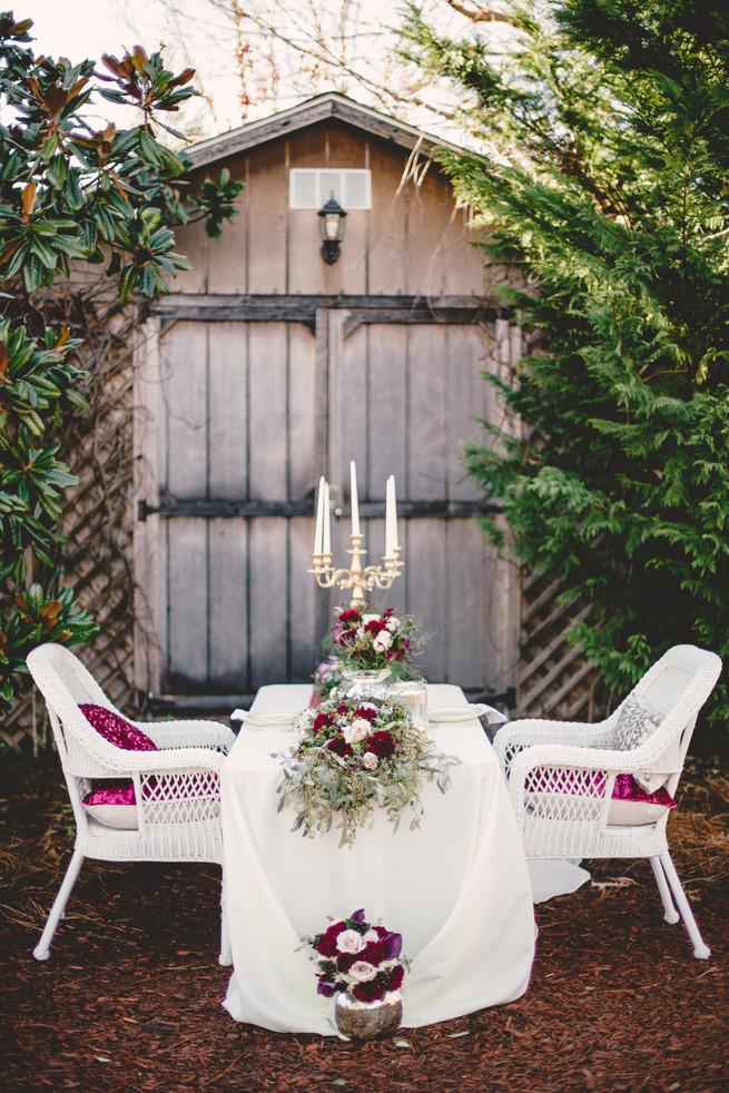 Rustic gold marsala sweetheart table Marsala Wedding Tablescape - RedboatPhotography.net