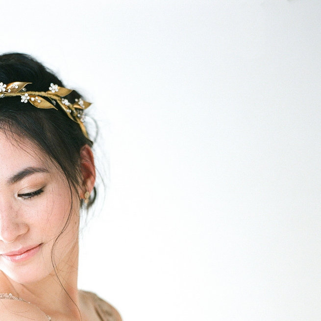 Gold hair halo Olivia - Truvelle Makers Collaboration - Blush Wedding Photography / Olivia Headpieces / Catherine Hartley Jewellery