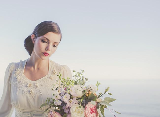 Vintage Beach Bride Editorial in pastel