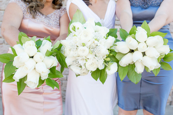 White bride and bridesmaids bouquets - Vintage-Inspired White Glamorous Wedding Wedding - Haley Photography