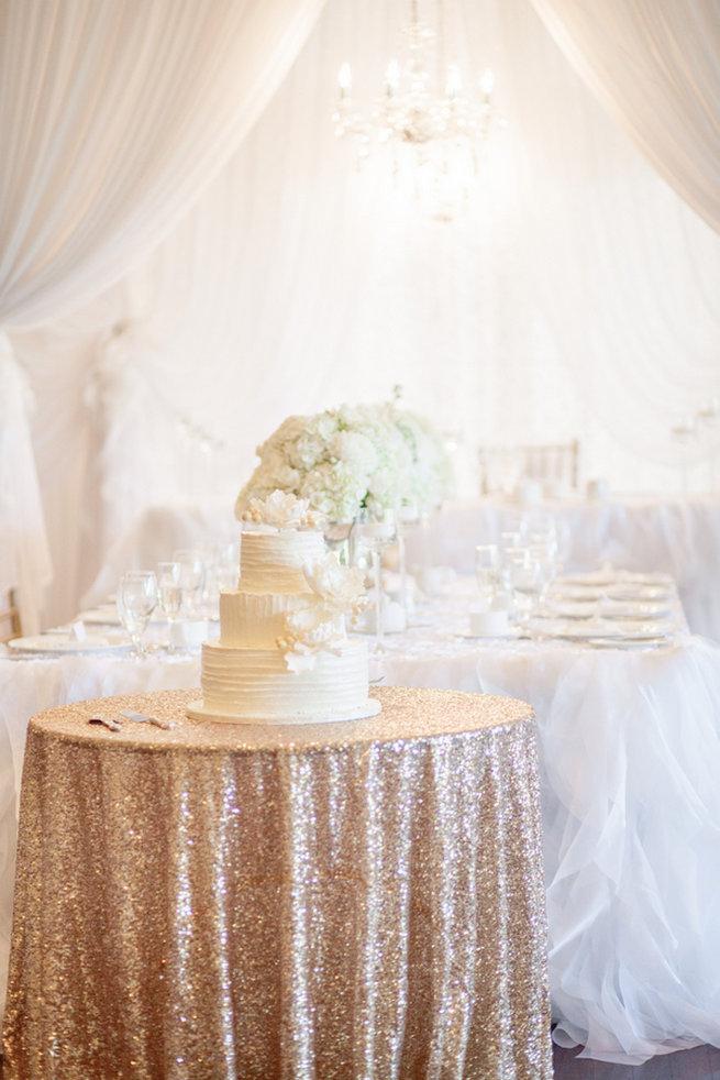 Blush glitter tablecloth and white wedding cake - Vintage-Inspired White Glamorous Wedding Wedding - Haley Photography