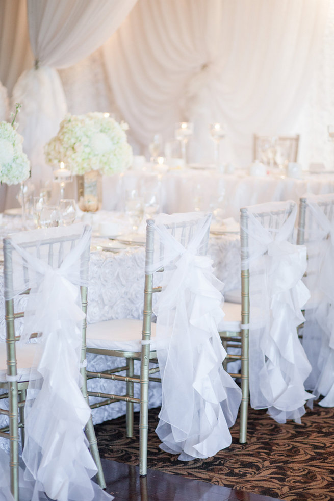 White ruffle chair covers - Vintage-Inspired White Glamorous Wedding Wedding - Haley Photography