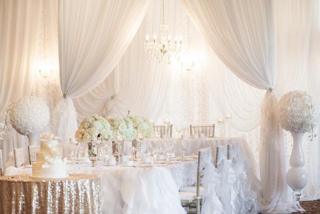 Tablescape - Vintage-Inspired White Glamorous Wedding Wedding - Haley Photography