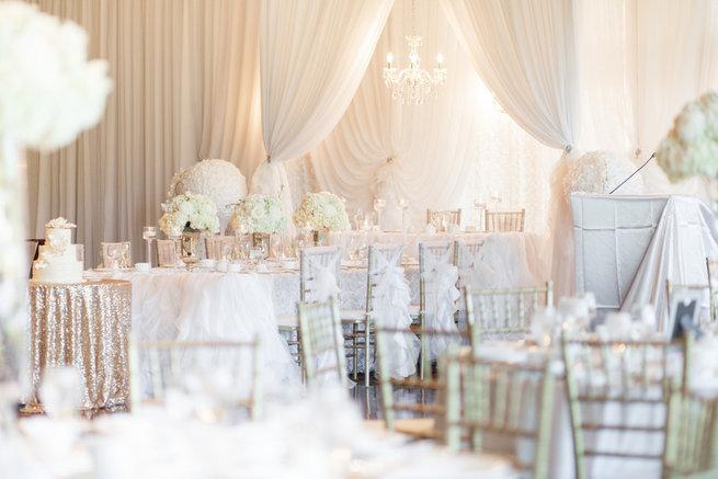 Glam white reception tables - Vintage-Inspired White Glamorous Wedding Wedding - Haley Photography