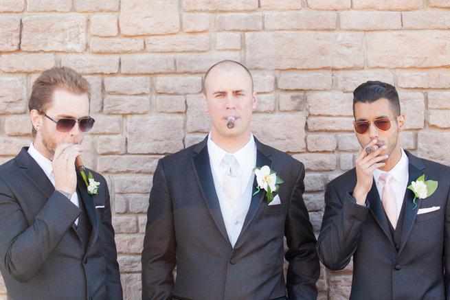 Groom and groomsmen - Vintage-Inspired White Glamorous Wedding Wedding - Haley Photography