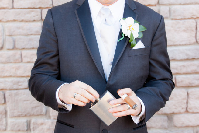 Groom cigar - Vintage-Inspired White Glamorous Wedding Wedding - Haley Photography